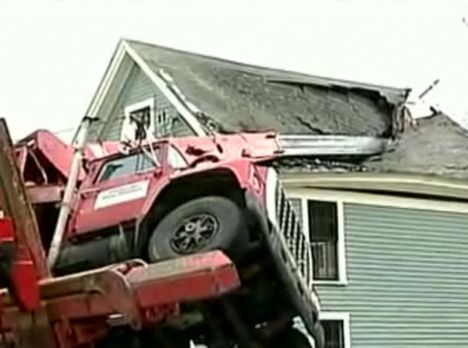Boom Truck Overturns In New Hampshire