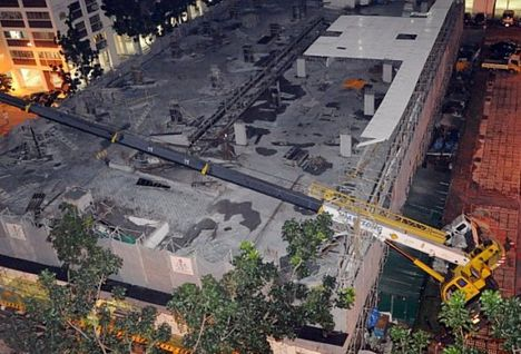 Singapore Crane Accident Picture on Crane Overturns In Singapore   All Things Cranes