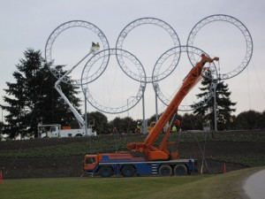 100 ton crane, installing the Olympic rings at YVR Airport, Vancouver BC, Canada