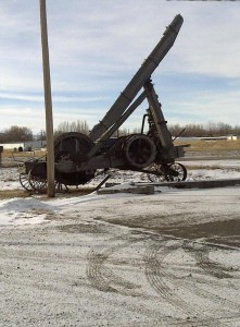 Wooden mobile crane in Casper, Wyoming this past February