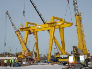 Setting up a 32t SWL Gantry crane with 45m Hook stroke, manufactured by Ace Crane Systems in Dubai