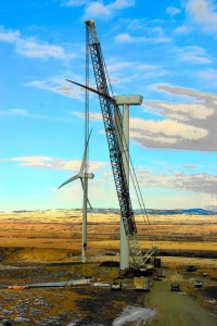 Northern Crane's Liebherr LG1550 in action at the Pincher Creek wind farm in Southern Alberta