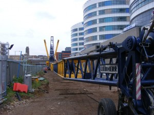 Ainscough Crane Hires Liebherr LTM 1500-8.1 with full luffing jib ready to boom up, Look at the deflection