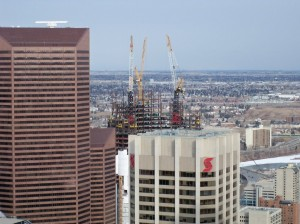 Shot taken from the 48 floor of the eighth avenue place office tower in Calgary, AB