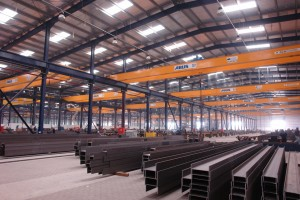 Structural Steel Factory in Dubai fitted out with 85 overhead cranes and 4 gantry cranes