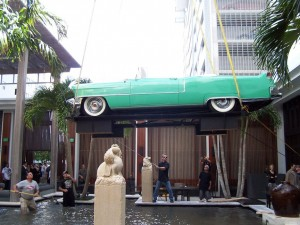 Harrison Crane hoisting 1955 Cadillac for an event on South Beach