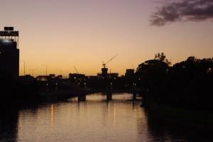 Tower crane at sunrise over Melbourne Australia