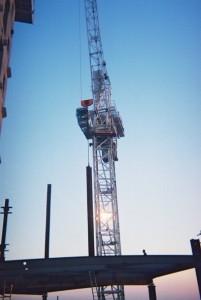 Crane working steel erecting on canary wharf in London