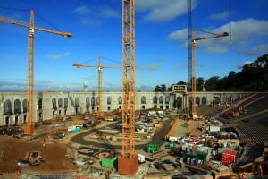 Bragg Cranes LBTC 300 erecting two Liebherr 550's and two Liebherr 316's at UC Berkeley Stadium, Berkeley California