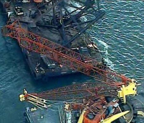 Crane Boom Breaks Free. 1