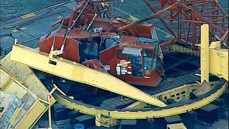 Crane Boom Breaks Free
