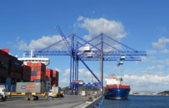 Liebherr Double Boom Cranes in action at Grup TCB's TCEEGE container terminal in Nemrut Bay, Aliaga, Turkey