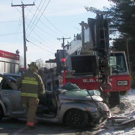 Crane Hits Car