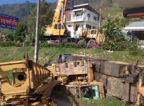 Crane Overturns in Phuket A