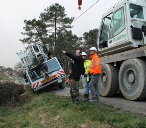 Crane slips off road A