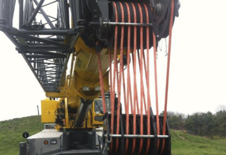 The Samson KZTM100 synthetic hoist rope on a Manitowoc rough terrain crane