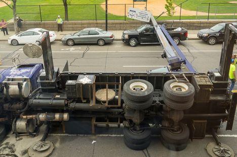 Boom Truck overturns 1